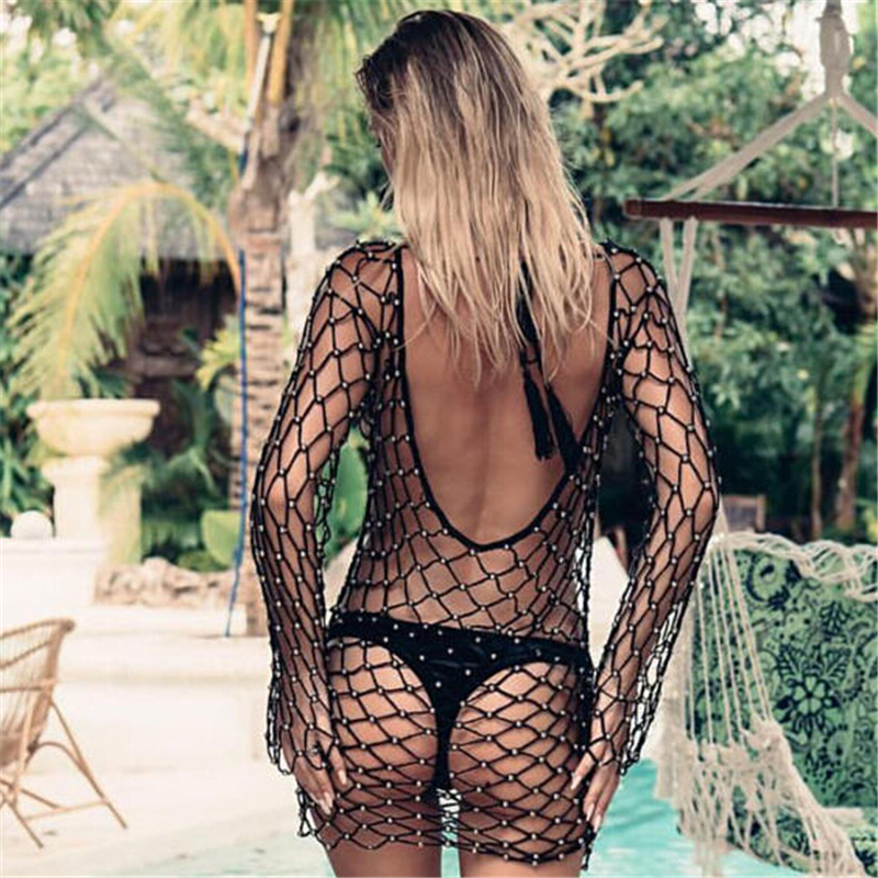 Women's Pearl Bikini Cover Up Summer Long Sleeve Hollow Out Fishnet Bathing Suits Cover-Ups Beach Swimwear Swimsuit Mini Dress