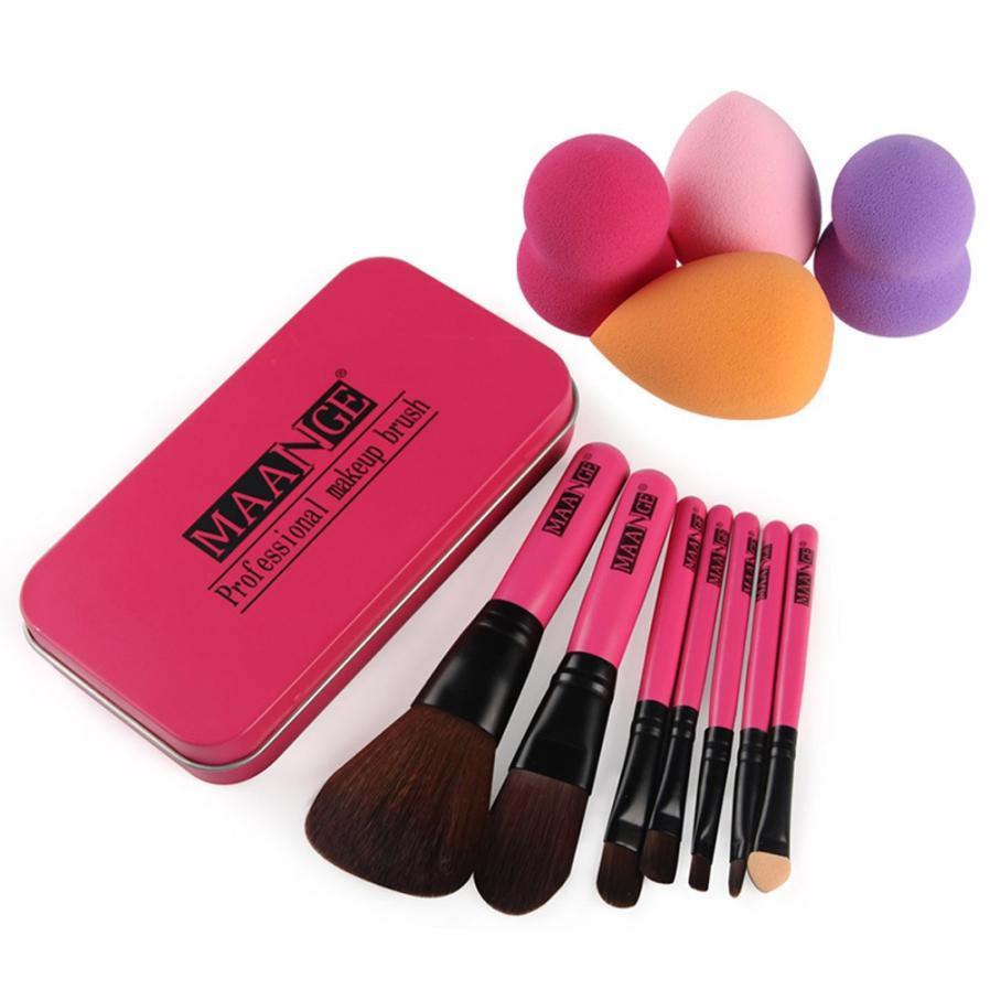 7Pcs New Fashion Makeup Brush Make-up Toiletry Kit Wool +4 Pcs Make Up Sponges Oct 20 тушь make up factory make up factory ma120lwhdr04