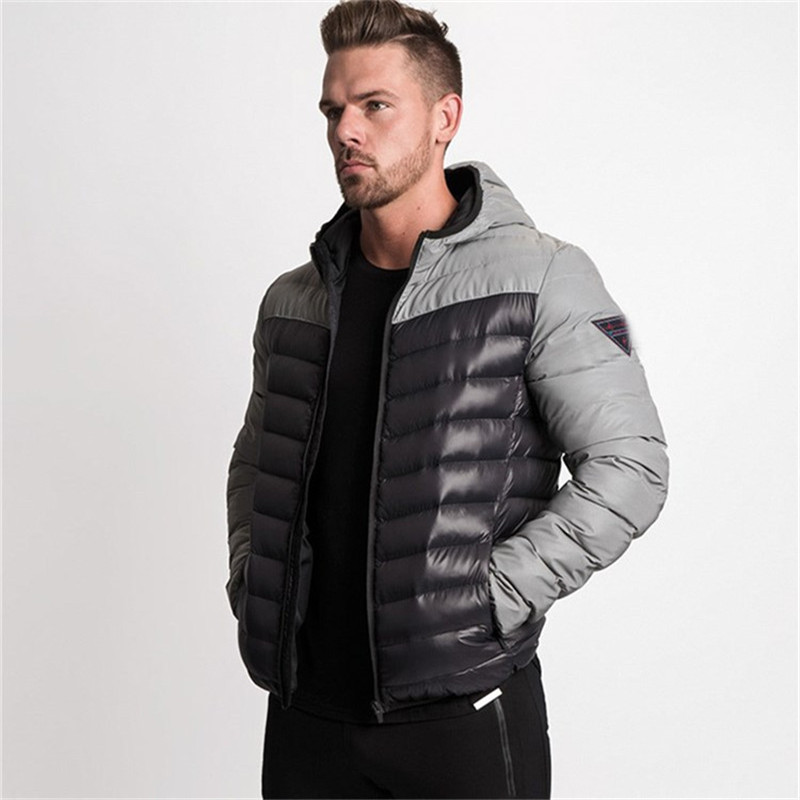 2019 Winter Mens Bodybuilding Running Gyms Casual Jackets Coat Hoodie Basic Men Sports Clothing Fitness Men's Male Clothes Parka