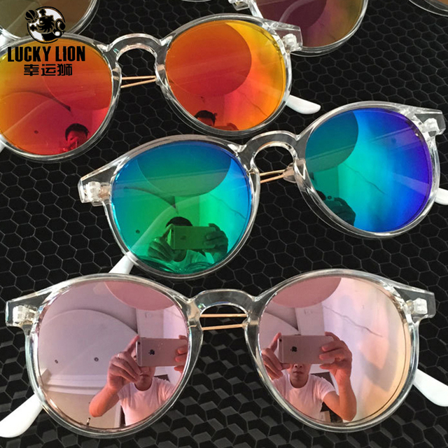 8aa3bfd821 Hot Sale Transparent Color Frame Eyewear Fashion Colored Film Sunglasses  Women Retro Vintage Round Shape Sunglasses Men