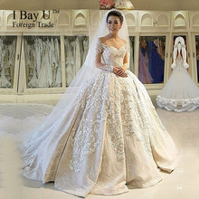 IBayU Luxury Long Sleeve Muslim Wedding Dress Gowns