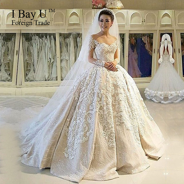 Aliexpress compre ibayu luxury 3d flower lace long sleeve ibayu luxury 3d flower lace long sleeve muslim wedding dress vestido de noiva princesa luxo 2017 junglespirit Choice Image
