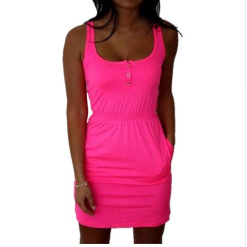 2018 Sexy Frauen Kleid Fluoreszierende Farbe Elastische Taille Dame Sommer Beiläufiges Sleeveless Strand-minikleid Vestidos S-5XL