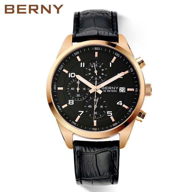 Berny Hommes Montre À Quartz Mens Montres De Mode Top Marque De Luxe Relogio Saat Montre Horloge Masculino Erkek Hombre JAPON MOUVEMENT