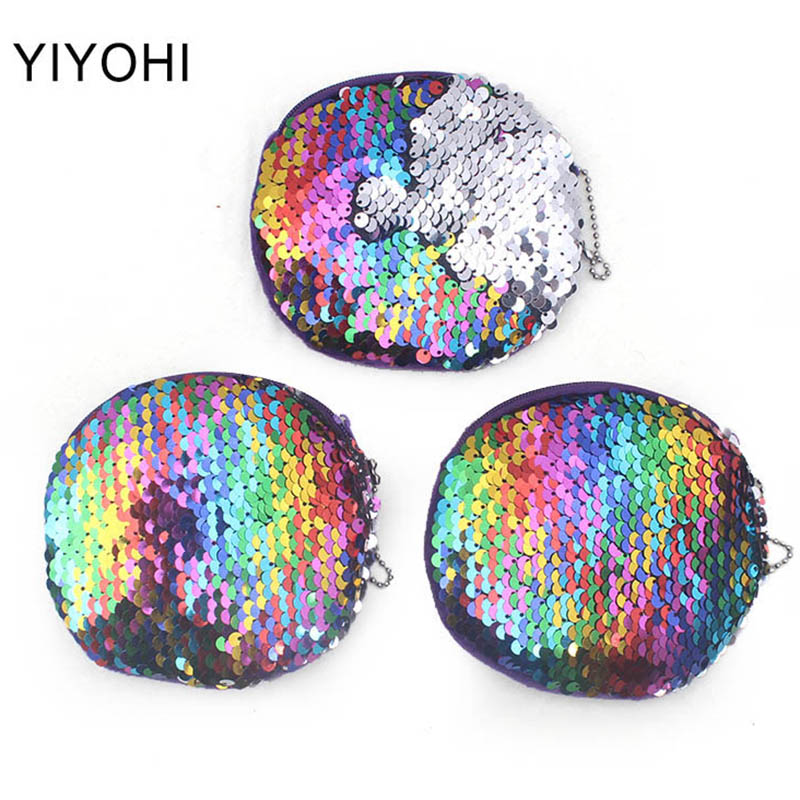Newest Colorful Bling Sequin Double Color Coin bag Wallet Change Purse Zipper Round Clutch Earphone Cable Storage Card Holder Newest Colorful Bling Sequin Double Color Coin bag Wallet Change Purse Zipper Round Clutch Earphone Cable Storage Card Holder
