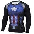 Капитан Америка Майка Мужчины 3D Железный человек Печатных Супергерой Футболки Фитнес Сжатия Рубашка Clothing Мужчины Crossfit Топы