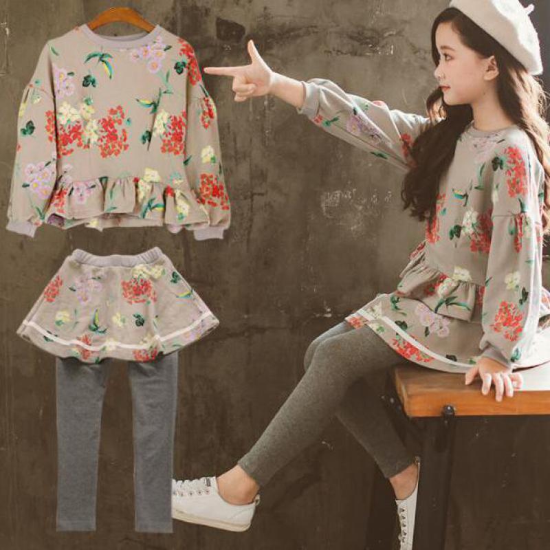 2018 Filles Vêtements Set Manches Longues Sweat-Shirts + Jupes Legging 2 pcs Automne Enfants Vêtements D'hiver Adolescent Filles Vêtements ensemble