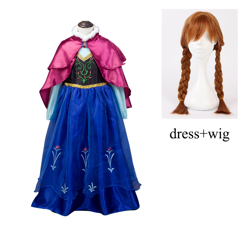 Girl Kids Princess Anna long dress Christmas Elsa Anna Party Dress Vestidos infants Cosplay Costumes fantasia Dress with capa пользовательские 3d стерео рельеф роуз фото mural обои гостиная телевизор диван backdrop wall home decor обои papel de parede цветочные