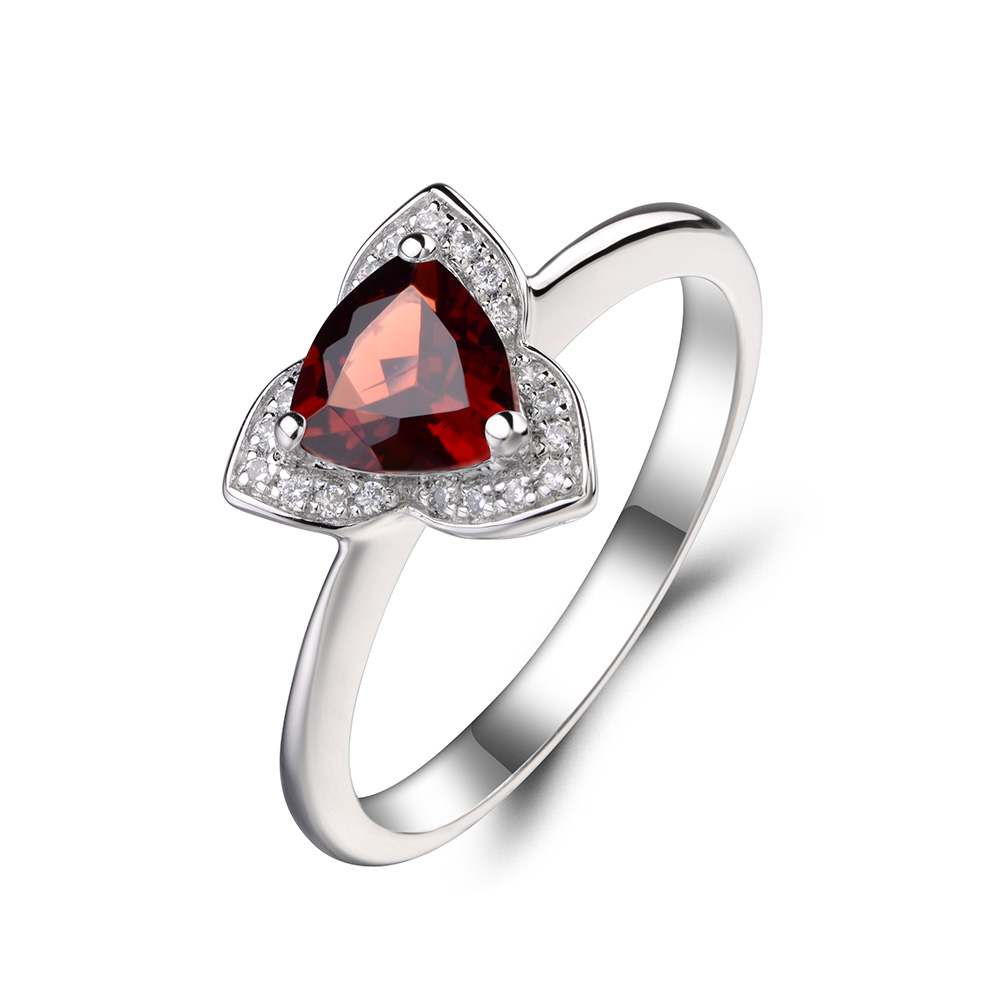 Leige Jewelry Natural Garnet Wedding Rings Solid 925 Sterling Silver Ring  Trillion Cut Red Gemstone January Birthstone Ring  In Rings From Jewelry ...