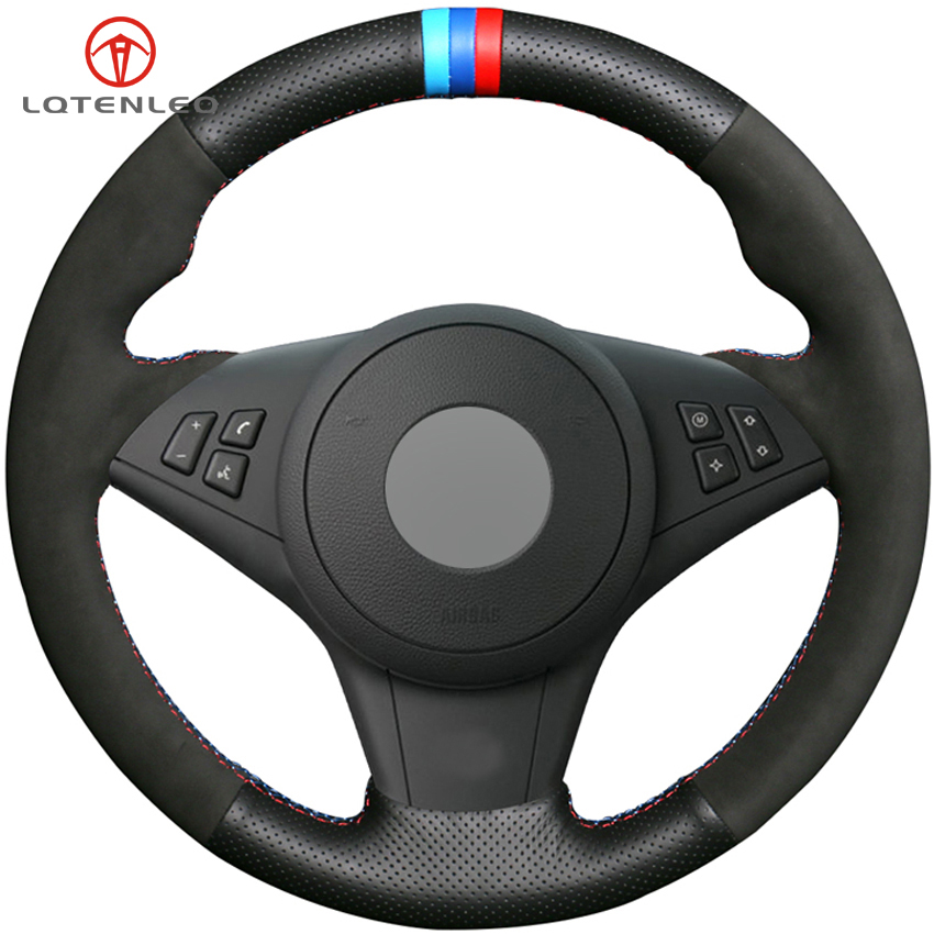 LQTENLEO Black Genuine Leather Suede DIY Car Steering Wheel Cover for BMW E60 M5 2005 2008