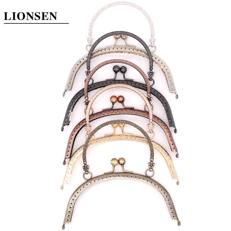 LIONSEN 5 color 16.5cm Metal Handbag Handle Frame Kiss Clasp Lock Handle Arch For DIY Purse Bag Fashion New Fashion Handle DIY C