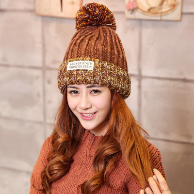 Free Shipping 1 PCS Fashion 2016 Autumn And Winter Hats Warm Knitting Ball Cap Casual Outdoor Caps For Women WCXD007  free shipping 1 set 3 pcs fashion 2016 autumn and winter hats warm knitting ball cap casual outdoor caps for women wcxd009
