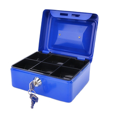 купить 8 Inches Stainless Steel Piggy Bank Safety Deposit Double Layer Box For Money Coin Cash Tray With Key Lock Cash Drawer Carry Box по цене 1264.2 рублей