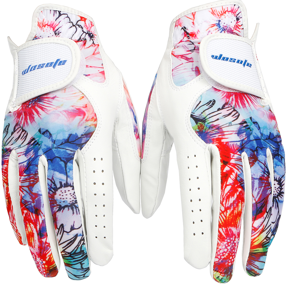 golf gloves women sheepskin a pair left and right breathable colorful women palm gloves