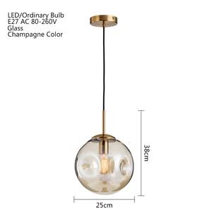 Image 2 - Modern loft glass ball pendant light LED E27 Nordic hanging lamp with 2 colors for living room restaurant bedroom lobby kitchen