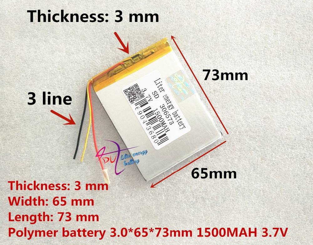 3 line 306573 3.7V 1500mAh Lithium Polymer LiPo cells power For PAD GPS Vedio Game E-Book Tablet PC Power Bank practical c10 er11a 100l collet chuck holder 100mm extension straight shank for cnc milling lathe for er11 collet with er11a nut