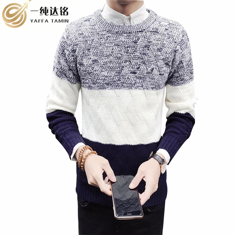 Mens Pullovers Sweaters Autumn Wear Basic Style Youth Preppy Shirts Striped Regular Fashion Knit Shirt men sweaters and pulloves