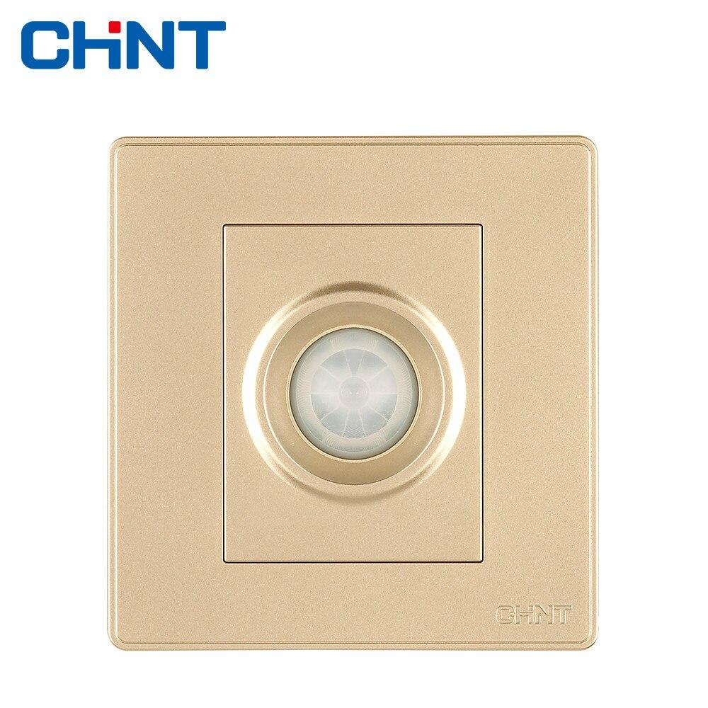 CHINT Elétrica Interruptor Do Sensor Infravermelho NEW2D Luz de Parede Interruptor Da Tomada de Ouro Champagne