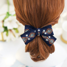 korea Flower Embroidery Hair Accessories For Girls Bows Elastic Bands Rubber Band Ring Headbands Women