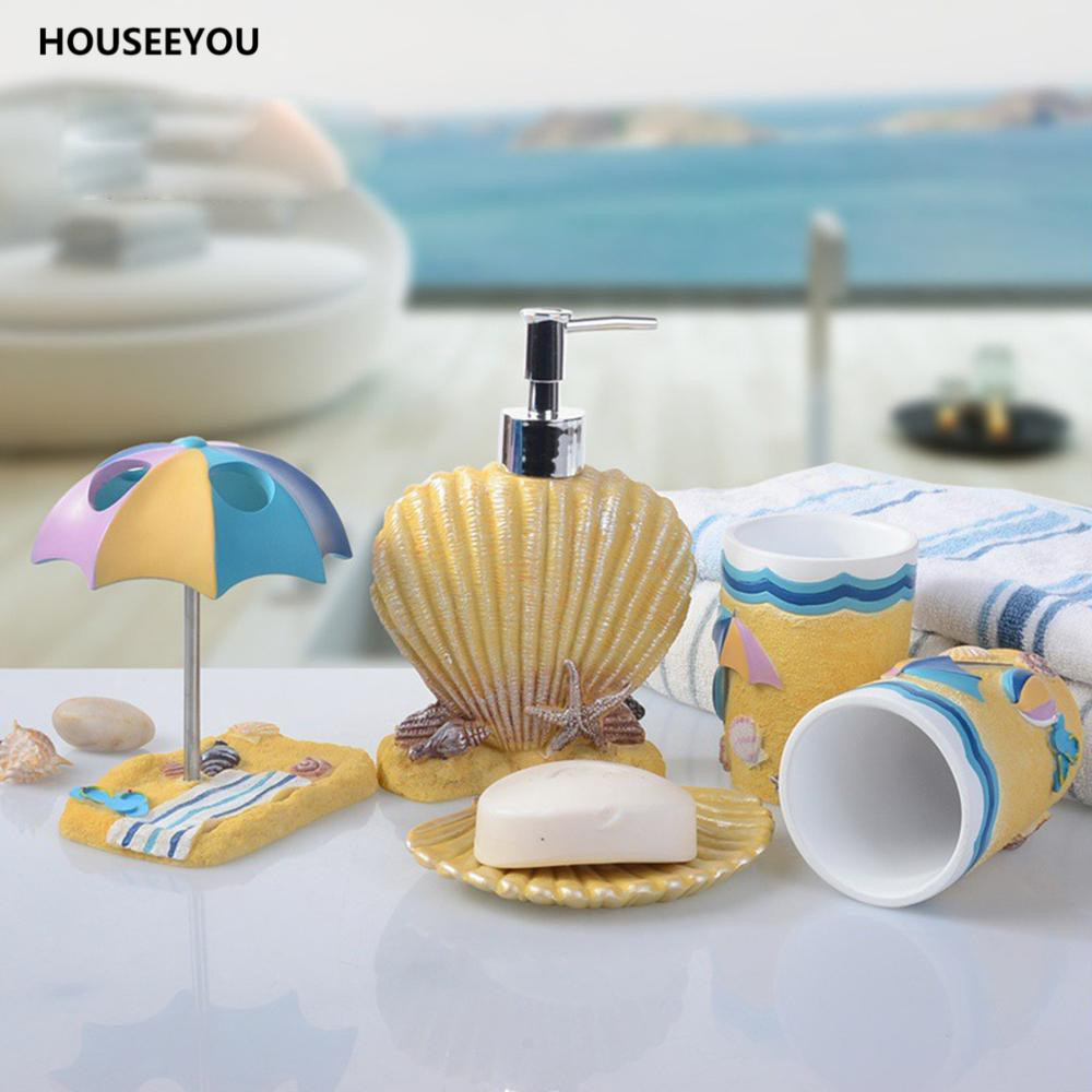 5pcs/set Bathroom Accessories Set Children Sea Beach Shell Style Bathroom  Products Sets Cartoon Resin