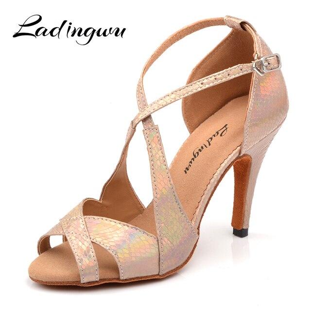 Ladingwu Yeni Marka Dans Ayakkabıları Kadın Latin Benzersiz Yılan doku PU Salsa Dans Ayakkabıları 10 cm Topuklu Tango Profesyonel yapmak ayakkabı
