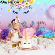 OurWarm Unicorn Party Unicornio Paper Bags Cake Toppers Candy Box for Baby Shower Kids Birthday Supplies Favor