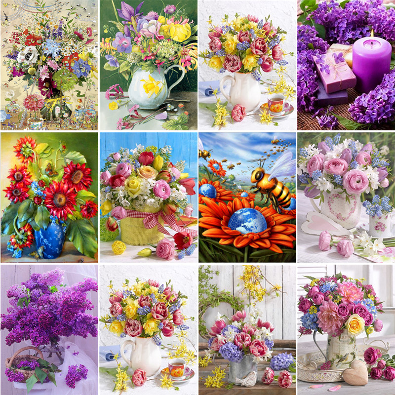 5D DIY full diamond flower arrangement vase cross stitch diamond embroidery mosaic home decoration in Diamond Painting Cross Stitch from Home Garden