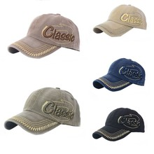 Women Men Splicing Stud Cap Canvas Flat-top Baseball Cap Adjustable