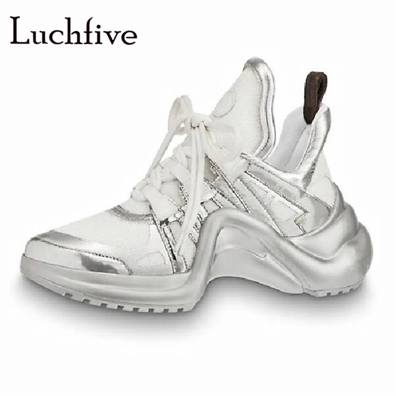 Hot Genuine Leather Runaway Wedges Women Casual Shoes Classic Round Toe Lace Up Leisure Outwear Gold