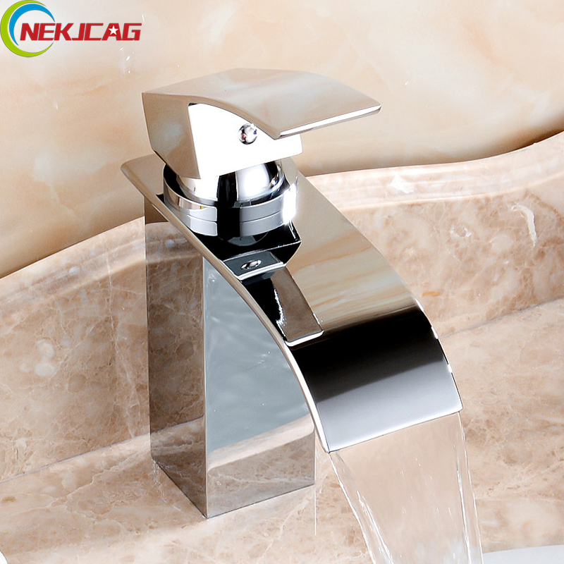 Deck Mount Waterfall Faucet Bathroom Vanity Vessel Sink Faucet Brass Chromed Mixer Tap Cold And Hot Water Tap Free Shipping phasat 4905 modern chromed brass waterfall kitchen sink faucet water tap silver