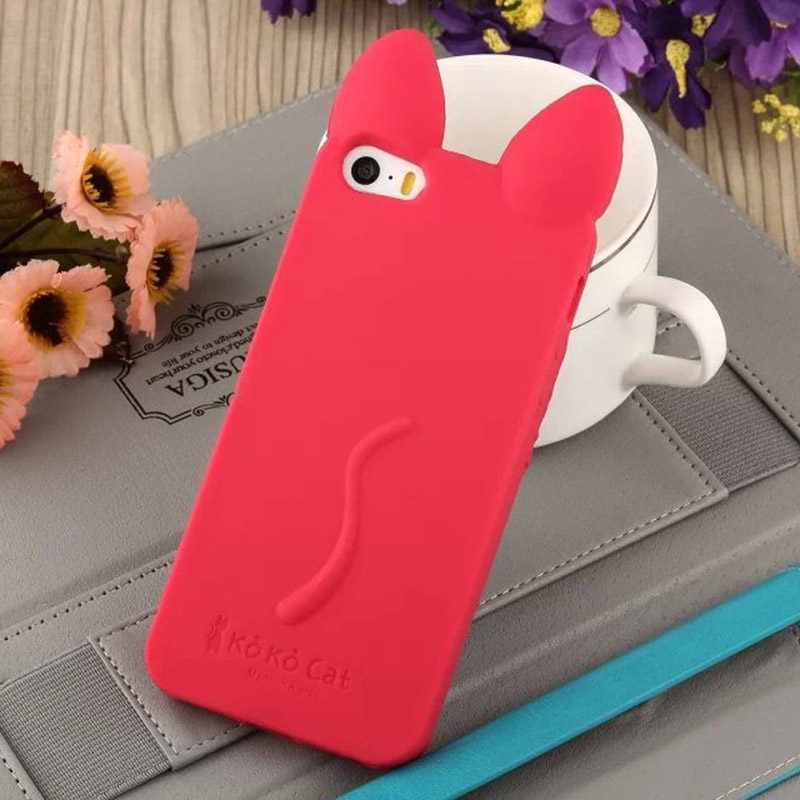 Soft Silicone Full Cover Case For Apple iPhone X 10 Ten 4 4s 5 5S SE 6 6S 7 8 Plus Anti-knock lovely Ears Back Cover Case ...