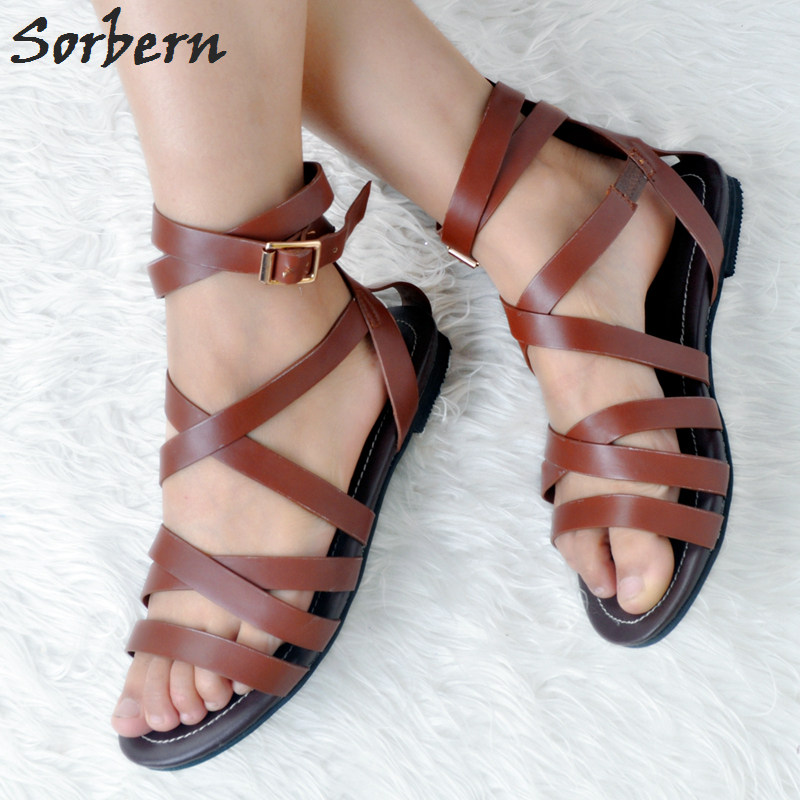 Sorbern Women Luxury Sandals Buckle Strap Plus Size Women Flat Sandals Womens Sandals Summer 2018 Flat-Sandals цена и фото