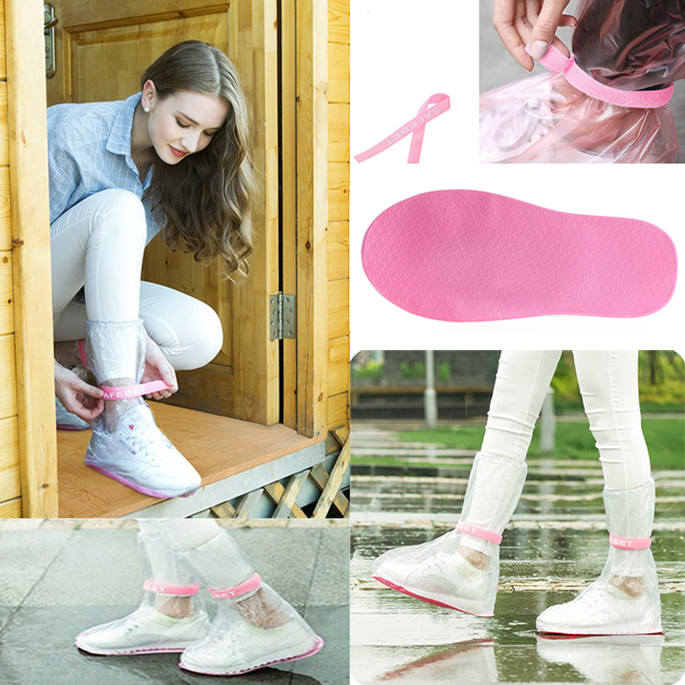 2019 High Quality Crystal Useful Waterproof Adult Flattie Rain Shoe Covers With Durable PVC Material For Travel(China)