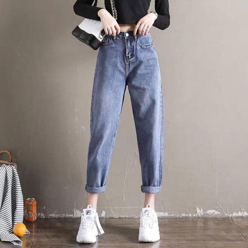 Boyfriend   Jeans   For Women Autumn Casual Denim Pants New Korean Streetwear Female Vintage Ankle-length Pants Harem Pants P034