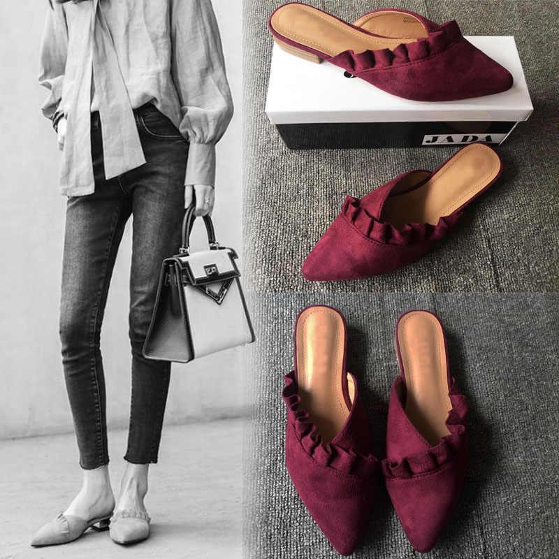 Women Slippers Flat Women Mules Shoes