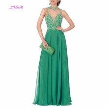 Vestido De Festa Longo Elegant Lace Applique Long Evening Dress Sexy Backless Chiffon Gown Abendkleider vestido de noche