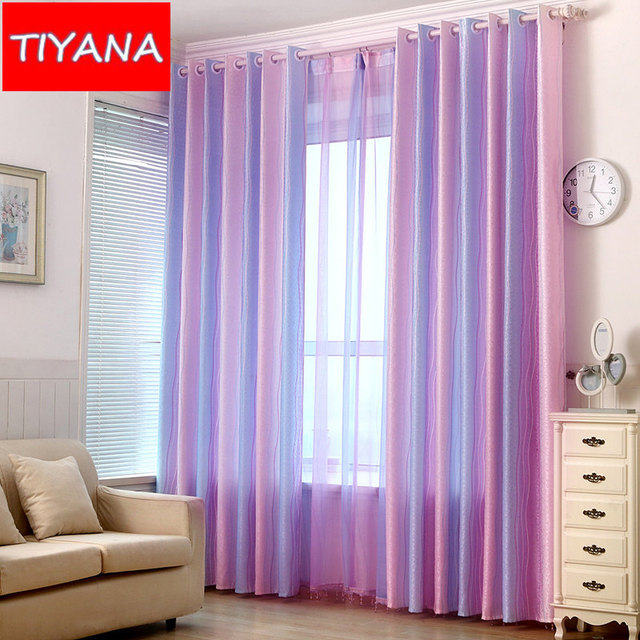 1 Piece Magic Semi Blackout Striped Curtains Fabric For Living Room  Gradient Sheer Pleated Curtains