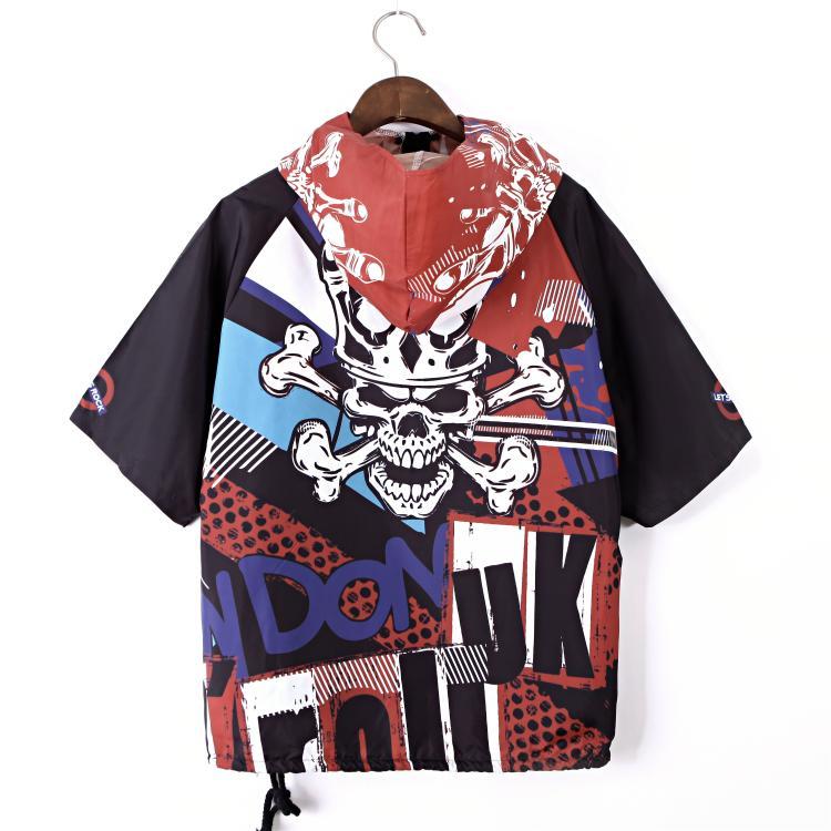 Lâche Tête 2019 Chemise D'été Manteau Capuche Solaire Femmes Courtes Hip Photo hop À Punk Et Top Vêtements Mince Manches Section De Color Printemps q6FPA