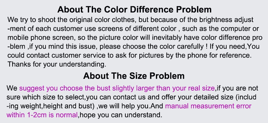 about color and size