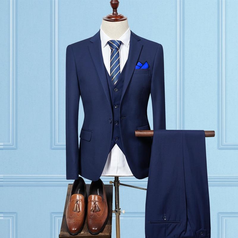 Jacket Pant Vest / 2019 Fashion Men Business Suits Three Piece Sets / Men's Wedding Dress Suit Blazers Coat Trousers Waistcoat-in Suits from Men's Clothing    2