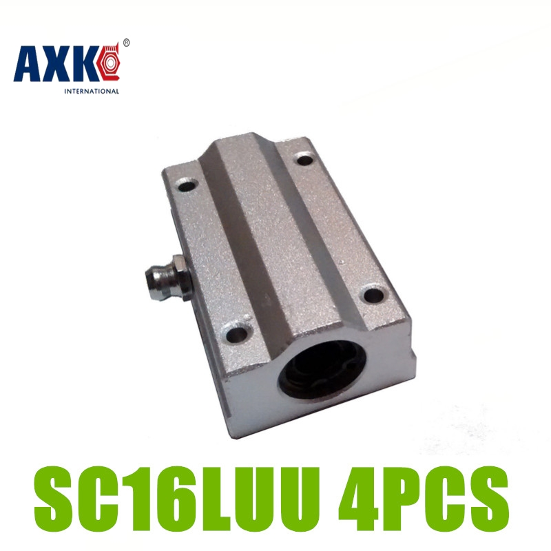 AXK Free shipping 4pcs SC16LUU SCS16LUU 16mm Linear Ball Bearing Block CNC Router pillow SC16LUU free shipping sc16vuu sc16v scv16uu scv16 16mm linear bearing block diy linear slide bearing units cnc router