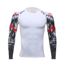 Men spend arm long sleeved exercise 3 d printing toned skin tight hot compression shirt long