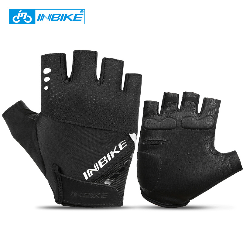 INBIKE Sheepskin Non-slip Sport Cycling Gloves MTB Bicycle Bike Gloves Half Finger Glove Men Women Breathable Fitness Gloves
