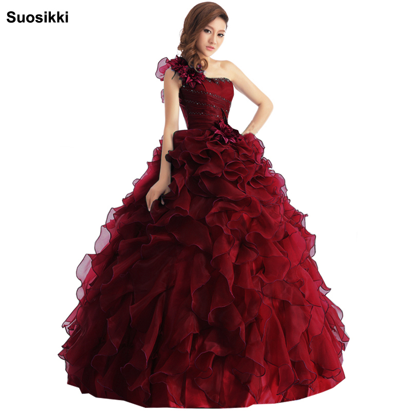 Suosikki Arrival Evening Dress Ball Gown One Shoulder Ruffle Rhinestone Evening Gown Prom Dresses Vestido De Festa Longo 2018