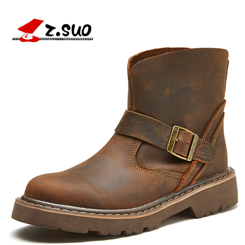 Z.Suo Fashion Winter women shoes Genuine Leather boots Breathable/Comfortable British Style Women's Casual Martin shoes british high fashion leather shoes breathable sneaker fashion boots men casual shoes handmade fashion