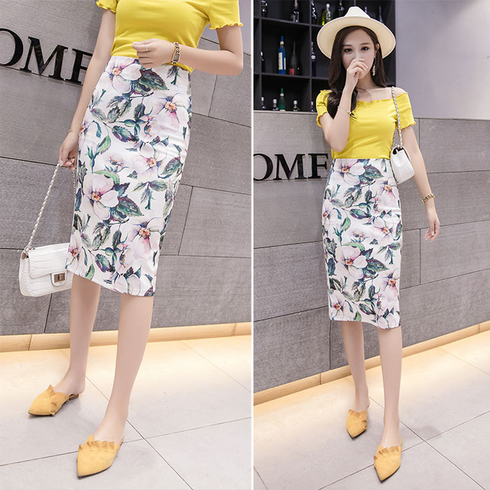 Micisoni England Style Floral Printed 2018 Summer New Professional Buttocks Slit Half Skirts Natural Knee Length