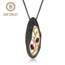 GEMS BALLET, collier avec pendentif Original en argent Sterling 925 en grenat en Rhodolite naturelle, 1,2 ct, fait à la main pour femmes