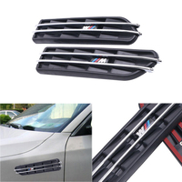 For BMW Stickers Logo M Power Decorative Front Fender Side Vent Grills Self Adhesive Air Flow