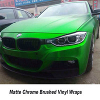 5ft X 65ft/Roll Green Chrome Brushed Vinyl Wrap Car Body Wrap Film Air Bubble Free Brushed Car Wrapping Vinyl