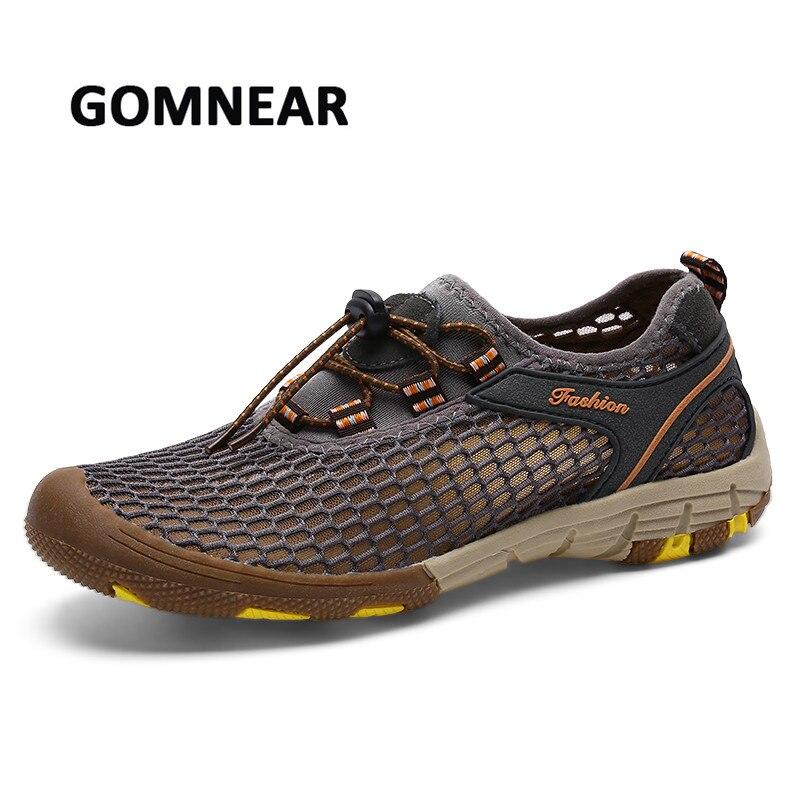 GOMNEAR Respirant Maille Chaussures Hommes Plage De L'eau Chaussures D'été En Plein Air de Marche Trekking Sport Chaussures Hommes À séchage Rapide Sneakers Taille48